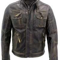 Men's Vintage Distressed Biker Style Leather Jacket