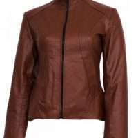 Classic Tan Leather Jacket for Women