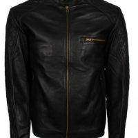MEN'S QUILTED SLEEVES GENUINE LEATHER JACKET