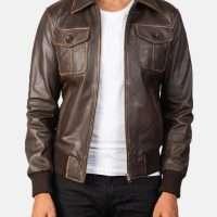 Aaron Brown Leather Bomber Jacket
