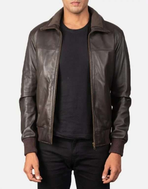 Outer Shell: Real Leather Leather Type: Sheepskin Leather Finish: Semi-aniline Inner Shell: Quilted Polyester Lining (Fleece on Collar) Closure Style: Zipper Collar Style: Rib Knit Cuffs Style: Rib Knit Inside Pockets: Two Outside Pockets: Two Color: Dark Brown