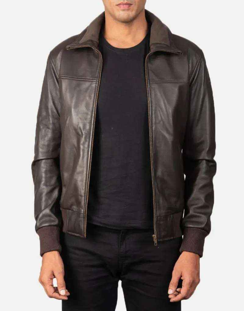 Air Rolf Light Brown Leather Bomber Jacket