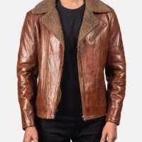 Alberto Shearling Tan Brown Leather Jacket