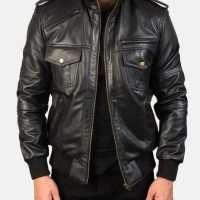 Agent Black Leather Bomber Jacket