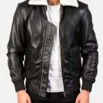 Airin G-1 Black And White Leather Bomber Jacket